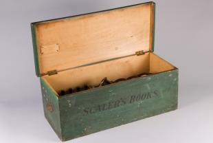 Green wooden storage box containing meters and one multiplier for Weston Model 2